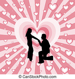 Marriage proposal - Silhouette of man proposing to woman