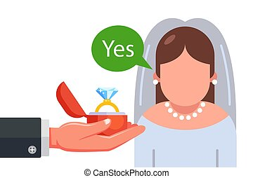 marriage proposal to the bride in a wedding dress. flat vector character illustration.