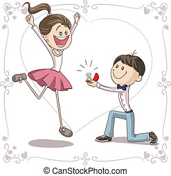 Vector cartoon of a cute young man proposing to a very happy bride-to-be.