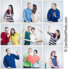 Marriage reminding old times - Small images of happy loving...