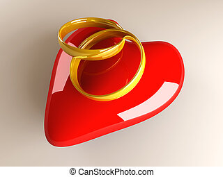 Marriage symbol. 3D rendered Illustration.