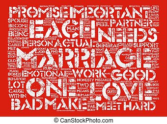 Marriage text background word cloud concept