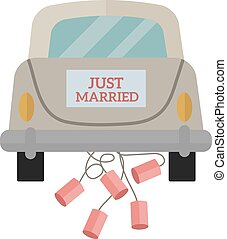 Vintage wedding car with just married sign and cans attached...