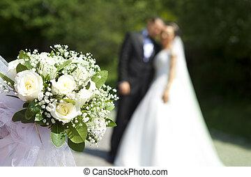 Marriage - White flowers wedding. Wedding concept.