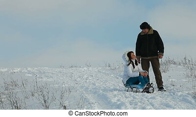 couple enjoying in winter