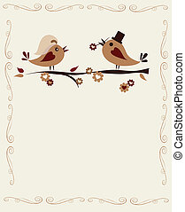 married birds on a branch, invitation template