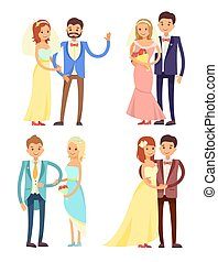 Married Couple and Hugs Set Vector Illustration