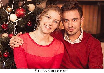 Married couple celebrating xmas