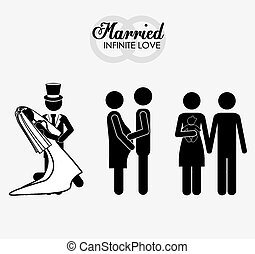 married, couple, desing vector illustration.
