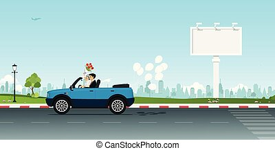 Married couple driving