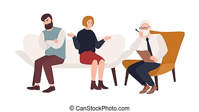 Married couple on sofa and elderly psychologist, psychoanalyst or psychotherapist sitting in front of them. Marriage crisis, family conflict, relationship problem. Flat cartoon vector illustration.