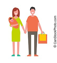 Married Couple with Newborn Baby and Shopping Bags