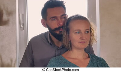 Married people with happy smile.