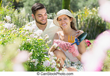 Married planting garden plants