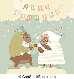married., reizend, zwei, gerecht, bears.