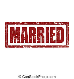 Married-stamp - Grunge rubber stamp with word Married, ...
