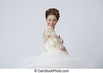 Married woman winking to the camera