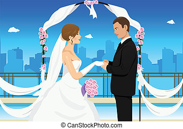 A vector illustration of a happy groom holding his bride's hand