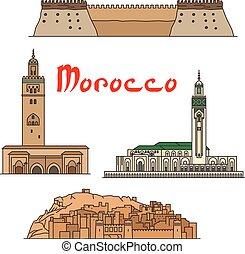 marrocos, histórico, marcos, e, sightseeings