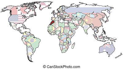marrocos, mapa mundial