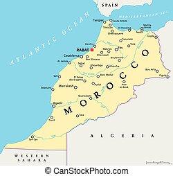 marrocos, político, mapa