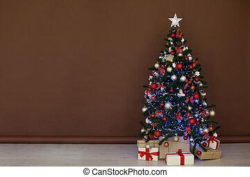 marrom, árvore, presentes, fundo, natal, vermelho