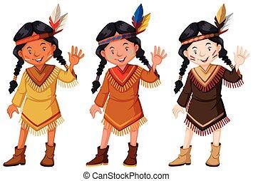 marrom, índios americanos, traje, nativo