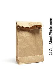 marrom, almoço, saco