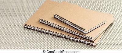marrom, anel, caderno, fichário, reciclado