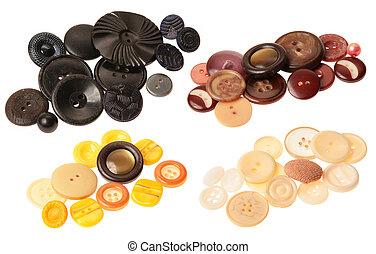 marrom, antigas, amarela, botões, pretas, branca