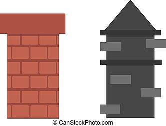 marrom, antigas, fumaça, topo, dois, telhado, chaminé, vector., tijolo, vermelho, arquitetura