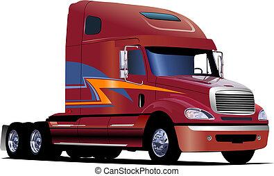 marrom, antigas, road., ilustração, vetorial, caminhão