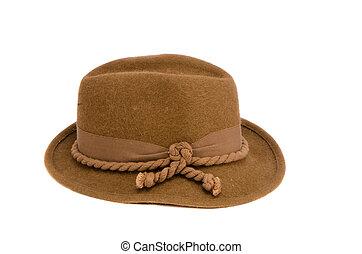 marrom, antiquado, chapéu, isolado
