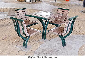 marrom, area., cadeiras, park.-, descanso, tabela verde