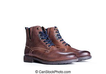 marrom, botas, isolado, ligado, um, fundo branco