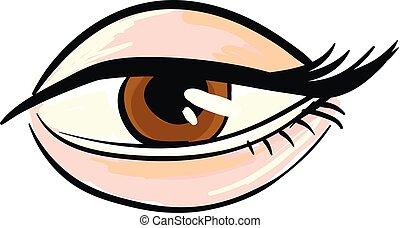 marrom, branca, mulher, olho, fundo