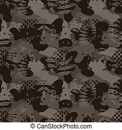 marrom, caça, exército, pattern., seamless, camuflagem, militar