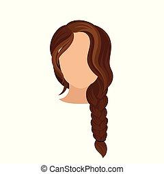 marrom, cabeça, mulher, hairstyle., na moda, cartaz, s, francês, escuro, braid., vetorial, apartamento, longo, femininas, hair., salão, hairdressing