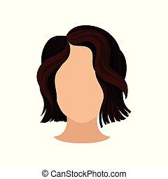 marrom, cabeça, shortinho, beleza, apartamento, cartaz, elegante, haircut., elemento, s, vetorial, femininas, hair., trendy, ondulado, salão, mulheres