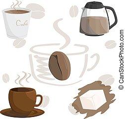 marrom, café, café, ilustração, copo