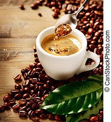 marrom, café, espresso., açúcar, copo