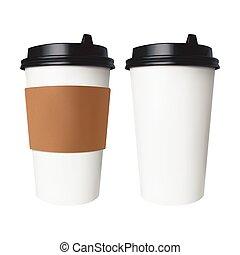 marrom, café, semelhante, copo, cobertura, isolado, etiqueta, papel, quentes, vetorial, tea., label., sem, branca, bebidas