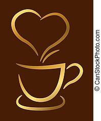 marrom, café, xícara ouro, ilustração, fundo