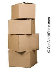 marrom, caixas, papelão, organizado, pilha