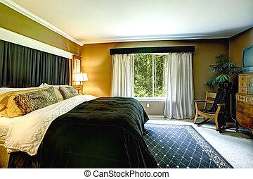 marrom, cama, elegante, pretas, quarto, interior, chita, travesseiro