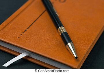 marrom, caneta, diário