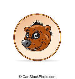 marrom, caricatura, ilustração, urso, head.