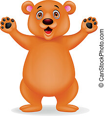 marrom, caricatura, urso