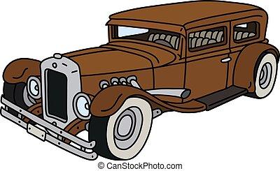 marrom, carro engraçado, vindima
