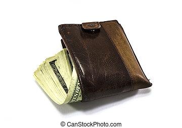 marrom, carteira, cheio, de, dinheiro